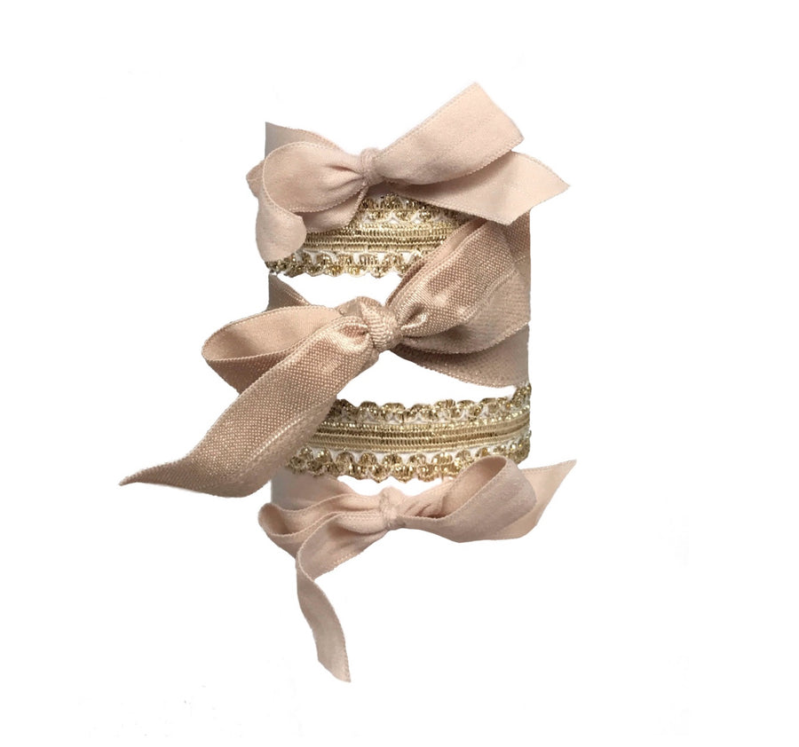 Claudette Set. Five Bandtz hair ties. Gold hair bands, nude hair bows. Elegant hair ties. Hair tie bracelet collection.