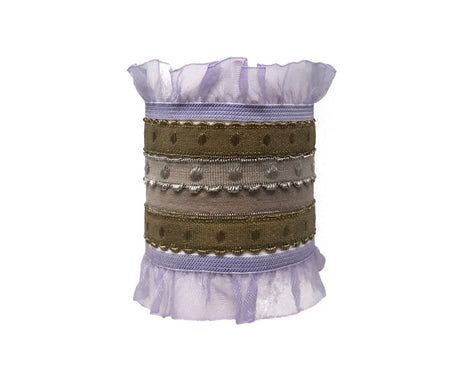 Grace Set by Bandtz. Five Bandtz hair bands in beige and lavender. Elastic organza ruffle hair bands, and dotted elastic bands. Hair ties for thick and thin hair.