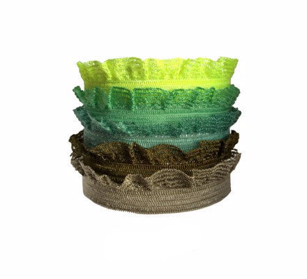 Edith Set in Green. Five Bandtz hair bands in elastic ruffle frill. Delicate hair elastic good for thin hair.  Double as hair tie bracelet.