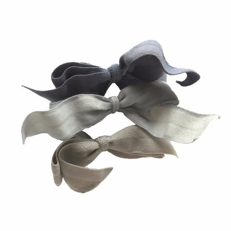 Encore Set by Bandtz in Grey. Three matte elastic hair bows. Hand dyed for unique color. Favorite hair tie for thick hair and thin hair.