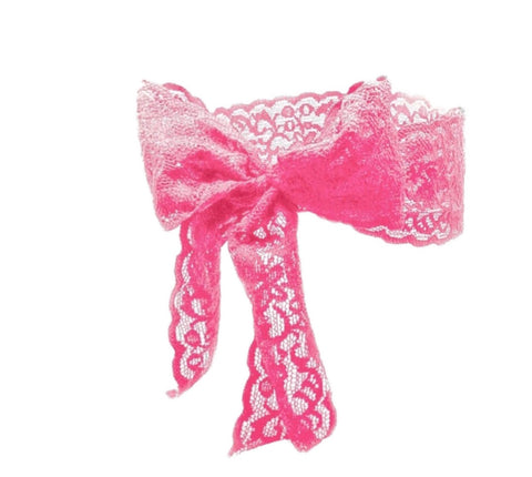 Luxe Lace Bow Headband in Pink - Bandtz. Elastic lace headband. Handmade hair accessory.