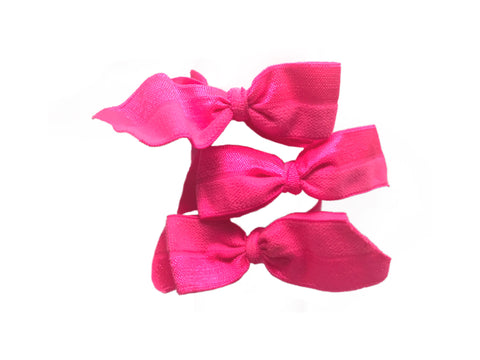 Brigitte Set in Hot Pink. Three Bandtz hair bows. Satin stretch elastic hair ties. No fray, no crease. Hair ribbon.
