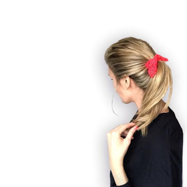 Luxe Lace Tail Band in blonde ponytail. Bandtz hairband handmade from high end elastic lace trim. Hair tie for women.