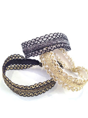 Charlotte Set. Three metallic Bandtz hair bands in black and silver, black and gold, and white and gold. A true hair tie bracelet. Fancy hair tie.