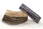 Charlotte Set. Three metallic Bandtz hair bands in black and silver, black and gold, and white and gold. Functional fashion. Hair tie bracelet. Gold hair tie.