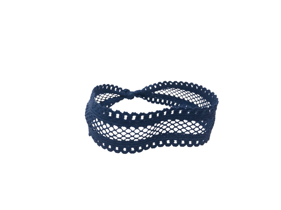 Bandtz hair tie in navy fishnet elastic lace.