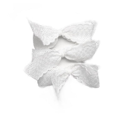 Judy Set by Bandtz. Three hair elastic bows in white lace. Hair tie for thick hair.