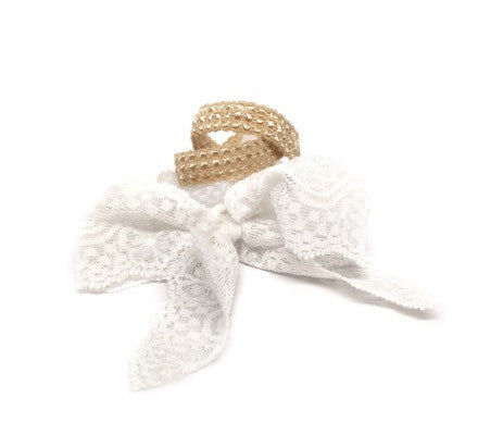 Tribute Set features three Bandtz hair ties. Two embossed gold hair bands and one white elastic lace hair bow.