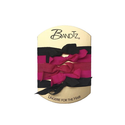 Joan Set by Bandtz. Five hair bows handmade from matte micro fiber elastic. Soft hair ties. Fashion hair ties. Hair tie bracelet. No tangle, no knot hair ties.