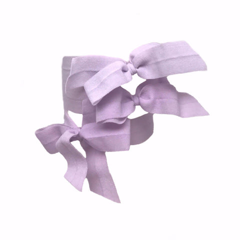 Bandtz Encore Set in Lavender. Three matte elastic hair bows in lavender. Long lasting, no fray hair bows. Favorite hair tie for thick hair and thin hair. Kind to the hair.