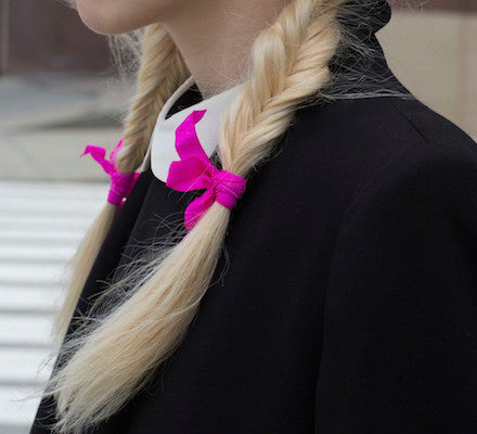 Pink matte bows on blonde braids. From Bandtz Joan Set.