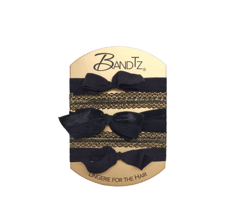 Monroe Set in Black- Five bandtz hair elastics. Two matte bows, one satin bow and two gilded cuffs.