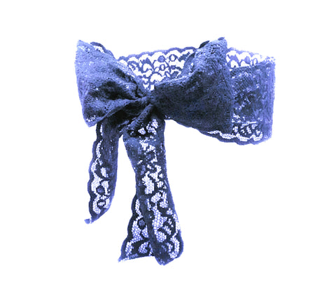 Luxe Lace Bow Headband in Navy - Bandtz. Wide elastic lace headband. Handmade hair accessory. Fashion accessory.