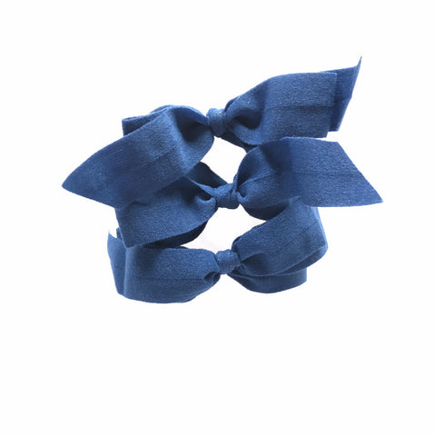 Encore Set by Bandtz in Navy. Three matte elastic hair bows. Long lasting, no fray hair bows. Favorite hair tie for thick hair and thin hair. Kind to the hair.