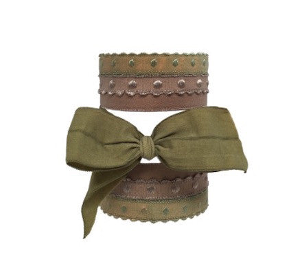 Bandtz Marlene Set in Olive. Five handmade Bandtz hair ties.  Four dotted hairbands, one wide matte hair bow. Specially designed microfiber hair elastics are easy on hair, prevent knots and tangles, and minimize ponytail crease! Favorite hair tie for thick hair and curly hair.