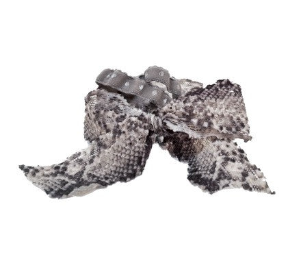 Harlow Set by Bandtz. Neutral snake print elastic lace bow and two demi dot hair bands in grey.