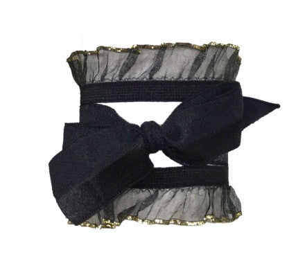 Bandtz Tutu Set in Black. Two elastic organza hair bands and one satin bow. Hair tie style.