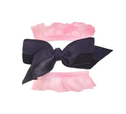 Bandtz Tutu Set in black and pink. Pink elastic organza ruffle hair ties and black satin bow.