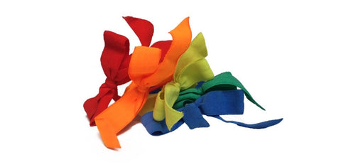 Pride Bows by Bandtz. Microfiber elastic hair bows are kind to hair, minimizing breakage and ponytail crease.