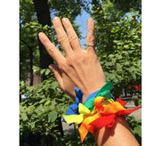 Pride Bows on wrist as bracelet. Cute hair tie jewelry