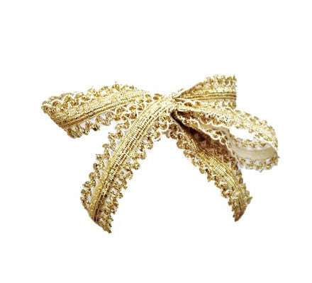 Bandtz Gilded Bow in White and Gold. Hair bow handmade from unique metallic elastic lace. Long tails. Statement hair bow.