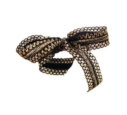 Bandtz Gilded Bow in Black and Gold. Hair bow handmade from unique metallic elastic lace. Long tails. Statement hair bow.