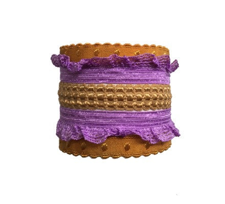Bandtz Theia Set in Violet. Five elastic hair ties in violet and gold. Fashion hair accessory. Hair tie accessory.