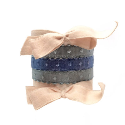 Maria Set in Nude and Blue - Bandtz. Five hair ties. Two matte hair bows in nude, three demi-dot hairties in blue and seafoam. Strong elastic hair tie. Fashion hair accessory.