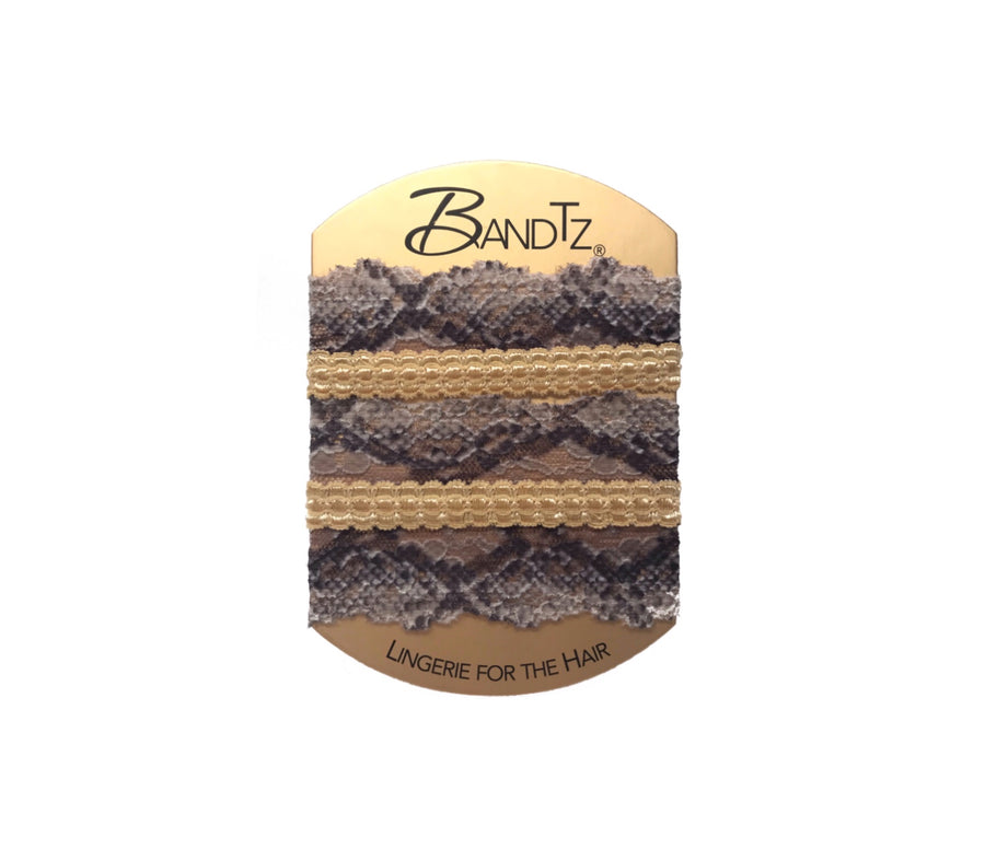 Hayworth Set by Bandtz. Three snake print hair ties and gold hair ties. No bows. Elegant, sophisticated. A favorite hair tie for blondes.