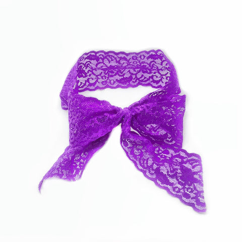 Luxe Lace Bow Headband in Purple - Bandtz. Elastic lace trim headband. Hair accessory.