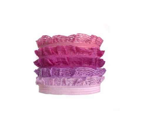 Edith Set in Rose. Five Bandtz hair bands in elastic ruffle frill. Delicate hair elastic good for thin hair.