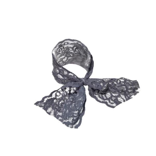 Bandtz Luxe Lace Tail Band in Grey. Hair band handmade from high end elastic lace trim. Hair tie for women.