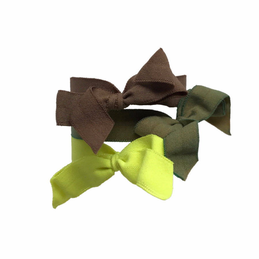 Encore Set by Bandtz in Safari. Three matte elastic hair bows in yellow, green and brown. Long lasting, no fray hair bows. Favorite hair tie for thick hair and thin hair. Kind to the hair.