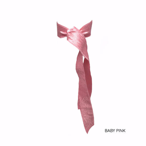 Pink Satin Long Tail by Bandtz. Individual hair tie handmade from pink elastic satin trim.