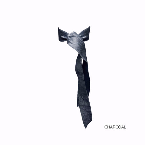 Charcoal Satin Long Tail by Bandtz. Individual hair tie handmade from dark grey elastic satin trim.