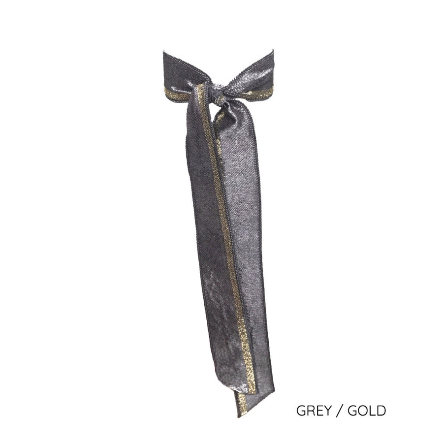 Grey/gold Satin Long Tail by Bandtz. Individual hair tie handmade from grey and gold elastic satin trim.