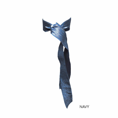Navy Satin Long Tail - Bandtz. Elastic ribbon hairband.