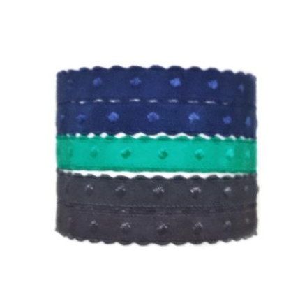 Voltaire Set in blue green. Set of five Bandtz hair ties from the ManBandtz collection. Hair ties for guys.