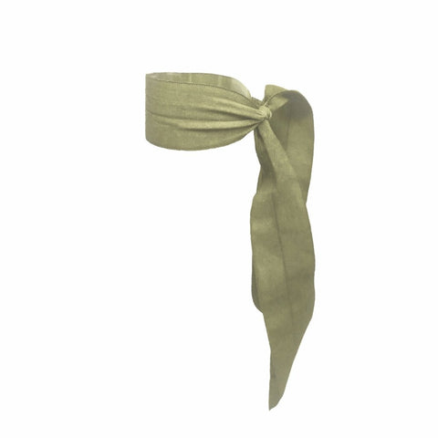 Bandtz Matte Wide Tail in Olive. Elastic Hair Ribbon