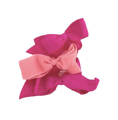 Bandtz Shirley Set in Pink/ Rose. Elastic hair bows for girls.
