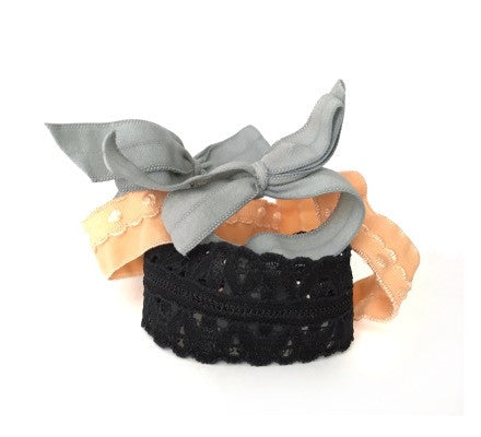 Artemis Set. Five Bandtz hair ties. Two hair bows, two elastic bands, one elastic lace cuff. Good for thick hair, thin hair, good hair days and bad hair days. Chic hair tie bracelet.