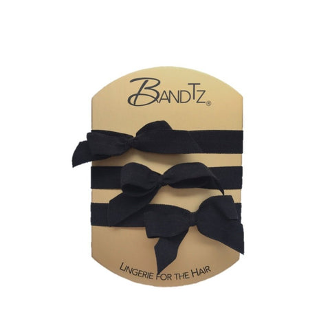 Bette Set by Bandtz. Three Bandtz hair elastics. Black elastic hair bows. Grown up hair tie. Black matte elastic. No hair crease. Best hair tie. Better than any scrunchie or FOE
