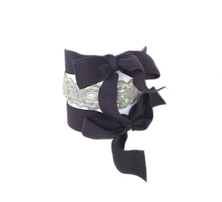 Twilight Set - Bandtz. Grey and black hair tie set. Two black hair bows, one grey elastic lace hair band