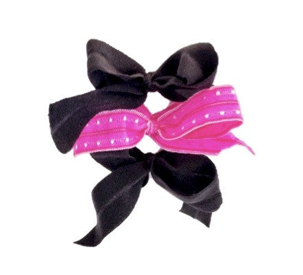 Eloise Set. Three Bandtz elastic hair bows. One hot pink swiss dot bow and two black matte bows. Available in adult and child sizes.