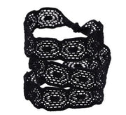 Eleanor Set. Three Bandtz hair ties in black elastic tricot lace. Fashion hair accessory with strong elasticity. Favorite hair elastic for thick and thin hair alike.