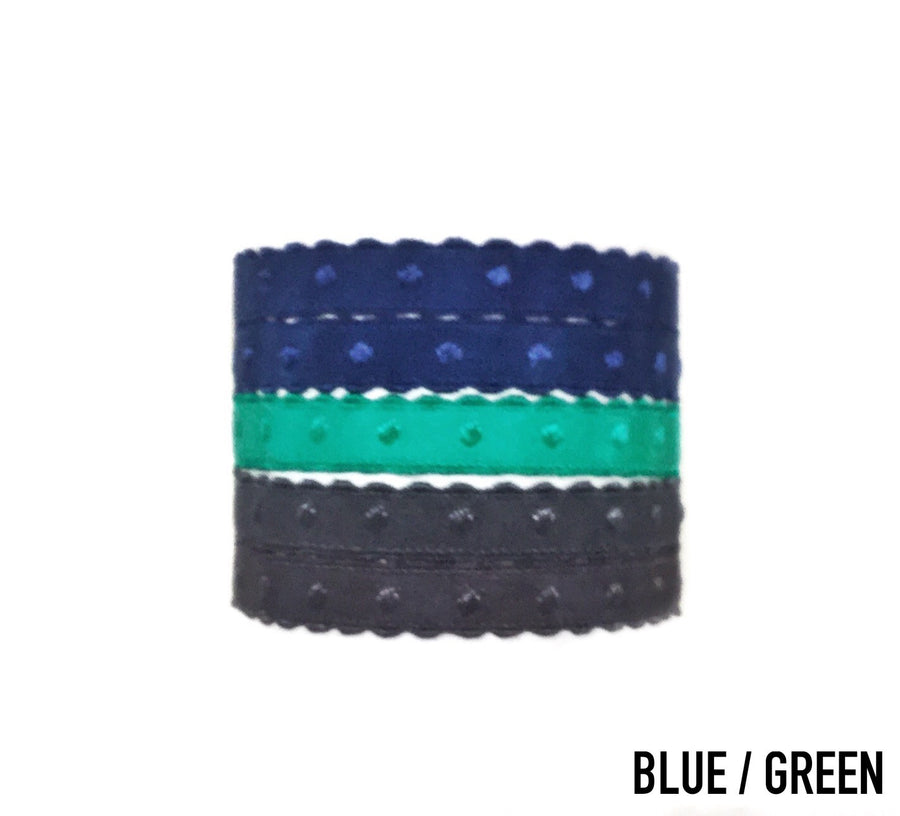 Bandtz Voltaire Set in blue green. Set of five Bandtz hair ties from the ManBandtz collection. Hair ties for guys.