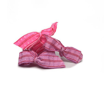 Pink Swiss Dot Bow - Bandtz. Set of three elastic hair bows.
