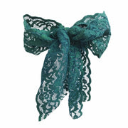 Green Luxe Lace Pony Bow - Bandtz. Wide elastic lace hair bow. Lace hair tie.