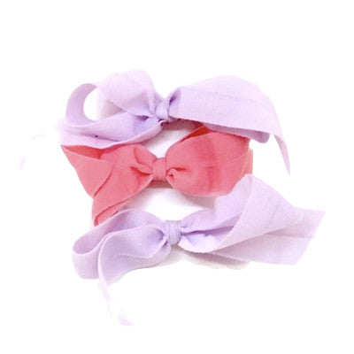 Bandtz Shirley Set in Lavender/ Rose. Three elastic hair bows for girls.