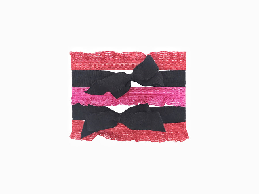 Rouge Set by Bandtz. Five hair fashion hair ties in black, pink and red.